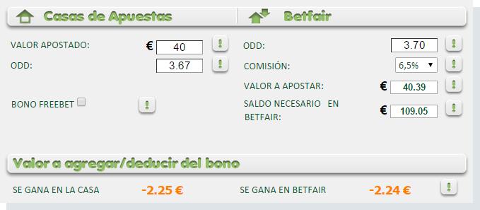 Una apuesta de 40 Euros utilizandio la calculadora de apuestas