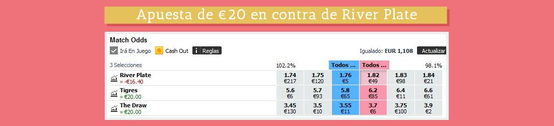 Apuesta de €20 en contra de River Plate