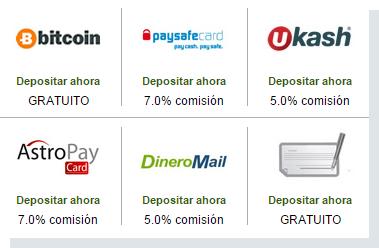 Opciones de deposito en Dineromail