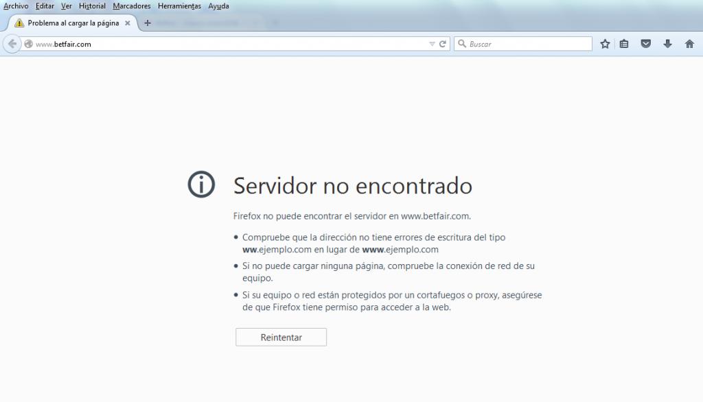 Error al acceder a Betfair desde Argentina