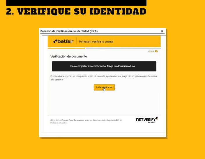 haga la verificación de su identidad - Apuestas Deportivas Betfair